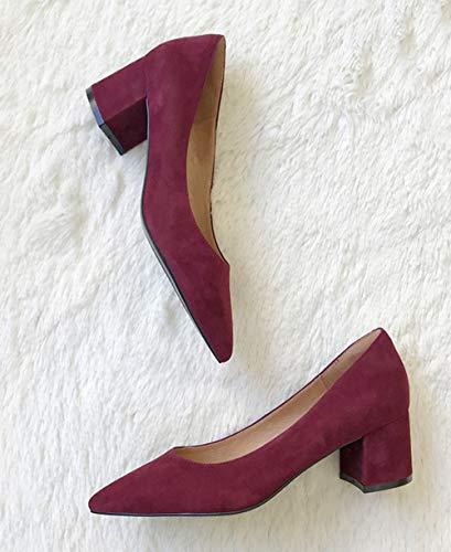 431 Daim de Pointues Blocage Talons Talons Chaussures de Red Orteils avec Femmes Unie Couleur Court OnwYzYx