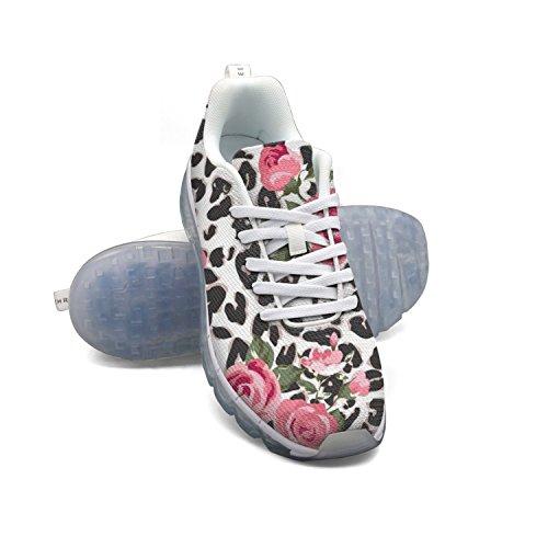 Faaerd Cute Rose Mix Leopard Da Donna Traspirante Cuscino Daria In Mesh Casual Moda Sneakers Da Ginnastica Sportiva Da Passeggio Sportive Scarpe Da Corsa