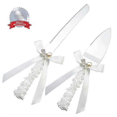 DÉCOCO Rhinestones Butterfly Decoration Wedding Knife Cutter and Server Set for Wedding, Engagement, Anniversary and Birthday Party with Floral Gift Box (Thick Stainless Steel) (Diamond Butterfly Knife)