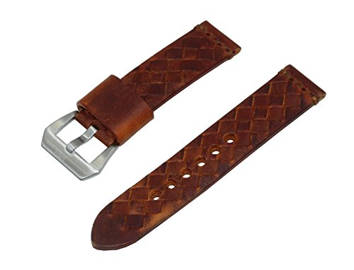 SWISS REIMAGINED Brown Woven Italian Leather Watch Band Satin Finished Stainless Steel Buckle - 24mm Leather Gear Cuff Watch