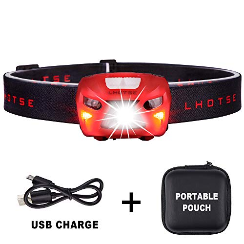 350 Lumens Ultra Bright Portable Sensor CREE LED Headlamp - 8 Lighting Modes with White & Red LEDs, 2.2Ounce Lightweight, Rechargeable 48hours Long Use, Best Headlamp for Running, Camping. Red
