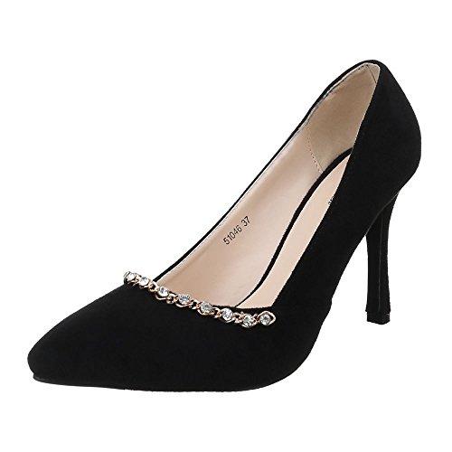 Damen Schuhe, 51046, Pumps High Heels mit Steinchen Schwarz