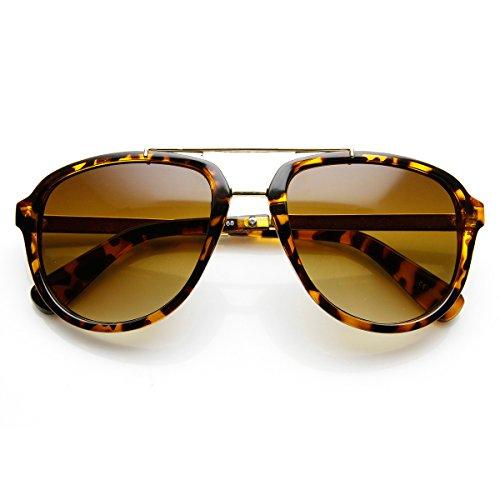 zeroUV - Retro Dapper Euro Fashion Roadster Square Aviator Sunglasses (Brown-Tortoise - Sunglasses Euro