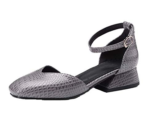 VogueZone009 Women Solid Low-Heels PU Closed-Toe Buckle Sandals Gray