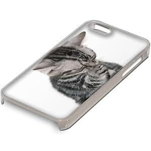 Gatos 10058, Gatito Gris, Custom Claro PC Ultradelgado Caso Duro Carcasa Funda Protección Tapa Hard Case Cover Shell con Diseño Colorido para Apple iPhone 5 5S.