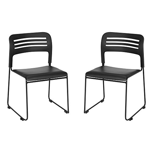 Wave Back Vinyl Seat Stack Chair with Sled Base, Black/Silver (Pack of 2) (Auditorium Chairs)