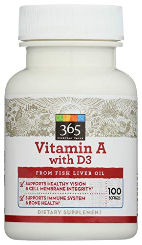 365 Everyday Value, Vitamin A with D3, 100 ct