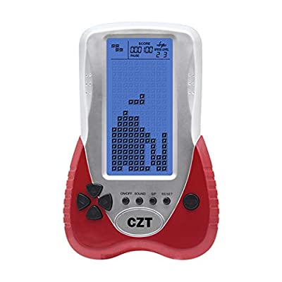 New CZT 4.1 inch Big Blue Backlight Screen Brick Game Console Support Headphone Built-in 23 Game Block Game Classic Leisure Puzzle Children Gift Toy Powered 3AAA Battery Power (not Included) (Red): Computers & Accessories
