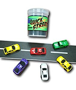 Quick Street Canister! Street / Road tape for on the go play. Street tape with 6 toy cars.