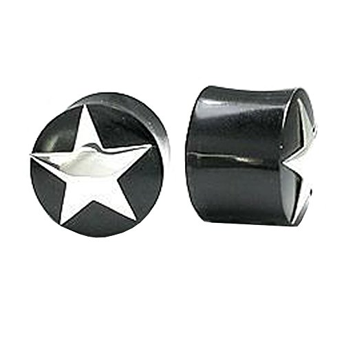 Elementals Organics Horn Ear Plug - Ear Gauge with Sterling Silver Star Design, 10mm, 00g - Price Per 1 Earring ()