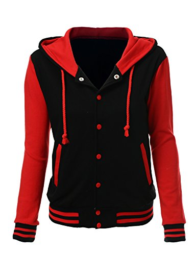 Stylish Color Contrast Long Sleeves Hoodie Varsity Jacket Black Red L -