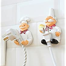 H.YOUNG 2 Pack Mobile Power Plug Line Hook Cook Cheif Wall Hook Plug Storage Rack Child Gift