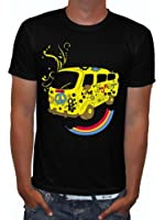Raxxpurl Comic T-Shirt Peace Car Flowerpower Skull for Party, Biker, Emo, Punks