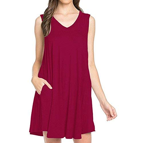 (TINYHI Girl Alexander Women's Sleeveless V-Neck Side Shift Pockets Simple Casual Swing T-Shirt Dress Burgundy,L)