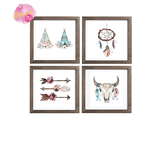 Set of 4 - Boho Wall Art Dream Catcher Cow Skull Arrows Teepee Boho Wall Decor -