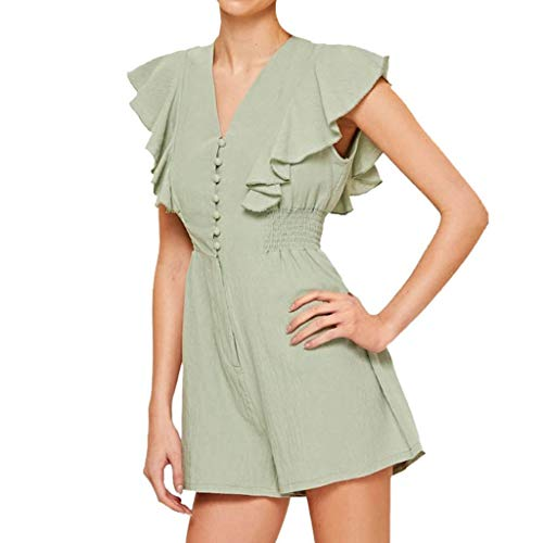 kemilove Womens Summer Sleeveless V Neck Ruffles Edge Conjoined Short Sleeve Belted Wrap Short Jumpsuit Rompers ()