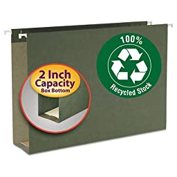 Smead Two Inch Capacity Box Bottom Hanging File Folders, Legal, Std Green, 25/Box (65095)