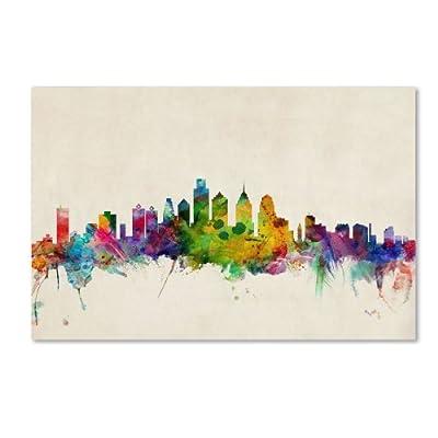 Philadelphia Pennsylvania Artwork by Michael Tompsett, 16 by 24-Inch Canvas Wall Art - Artist: Michael Tompsett Subject: Cityscape Style: Contemporary - wall-art, living-room-decor, living-room - 41gF0CYbJ8L. SS400  -