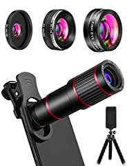 No More Blurry Images Advanced 10 + 10 layers green coatings highly represent the true colors. In addition, this phone camera lens kit also comes with a tripod which works as a good assistant if you have not very steady hands. Perfect for Lon...