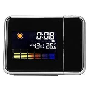 Oumij Reloj Despertador Cakebdar, LCD Proyector LED Digital ...