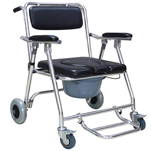 Enshey Shower Commode Mobile Chair Commode/Shower Wheelchair Padded Toilet Seat Shower Transport Chair with 4 Brakes, Cushioned Arms, Slide Out Footrest, PU Commode Seat and Pail 330lb -