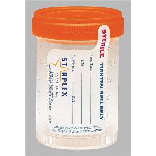 Image of Biohazardous Waste Containers Starplex Scientific Leakbuster B1202-1O Specimen Container with O-Ring Orange Cap, Sterile, Clear, 120ml Capacity (Case of 300)