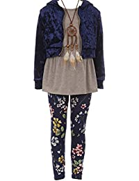 4 Pieces Jacket Tank Top Legging Necklace Winter Girls Pant Set 4-14