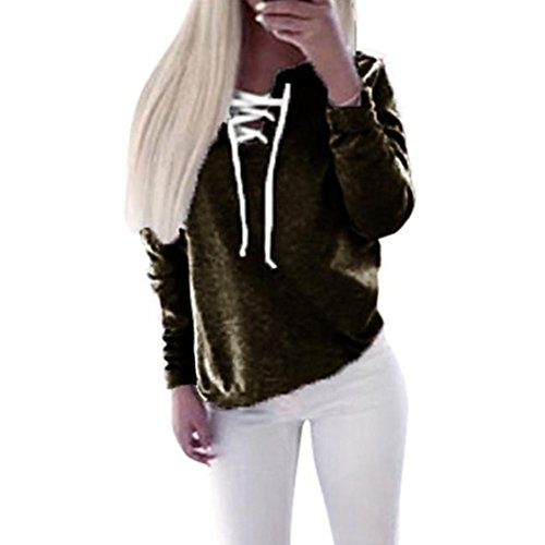 Pullover Sweatshirt, Misaky Women Autumn Long Sleeve Lace-up Tops Blouse (M, Black) (Waterfall Switchback)