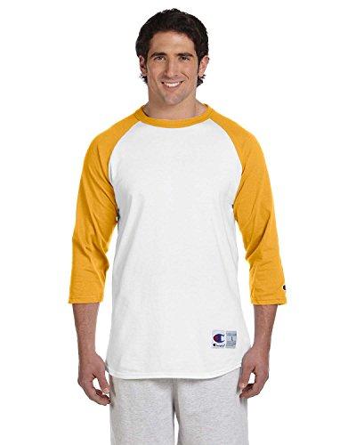 Champion Men's Raglan Baseball T-Shirt, White/Gold, Small