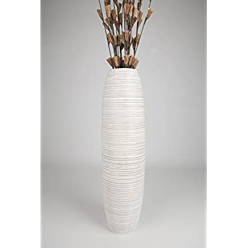 Leewadee Tall Floor Vase 36 inches, Wood, White