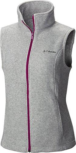 - Columbia Women's Benton Springs Vest, Light Grey Heather/Fuchsia, Large