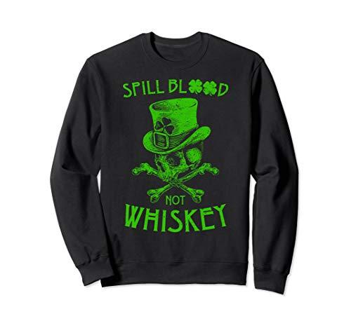 (Spill Blood Not Whiskey t-shirt Irish Skeleton Biker Shirt )