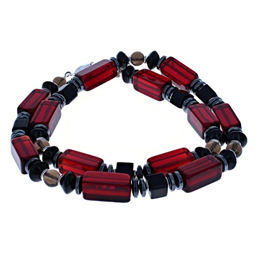 Men's Beaded Necklace Red Wine Quartz, Onyx, Hematite (Hemalyke), Smoky Quartz & Sterling Silver - 16