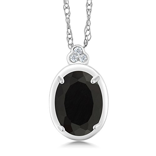 (Gem Stone King 10K White Gold Diamond Accent Pendant with Chain Oval Black Onyx 0.82 cttw)
