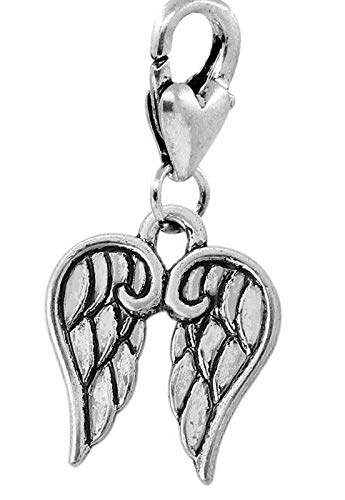 Angel Wings Heaven Protection Remembrance Lobster Claw Clip Charm for Bracelets Vintage Crafting Pendant Jewelry Making Supplies - DIY for Necklace Bracelet Accessories by CharmingSS ()