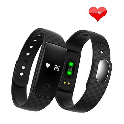TONSUM Heart Rate Monitor Fitness Tracker with 0.49'' Touch Screen Call Alert Time Display Alarm Pedometer Sleep Monitor Calories Counter Distance Counter Compatible with iPhone Android Phone