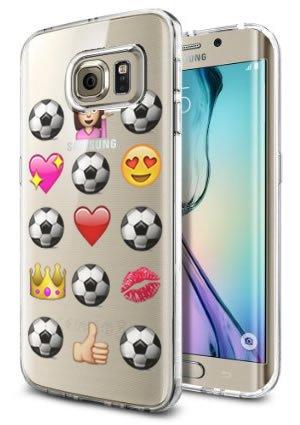 41gF3%2BFkfQL amazon com galaxy s6 edge clear case soccer emoji meme cool funny