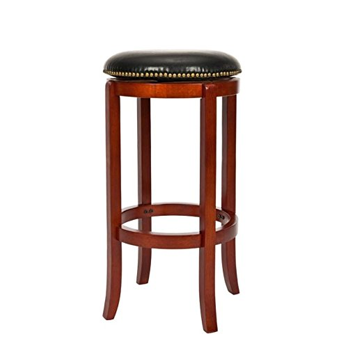 (Safavieh Home Collection Ellwood Light Cherry and Black Leather Swivel 24-inch Counter Stool)