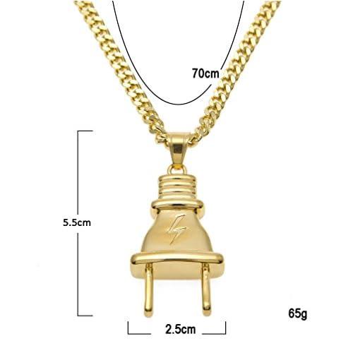 RENYZ.ZKHN Stainless Steel Ornaments, Lightning Plug Pendant, Hip Hop Stainless Steel Jewelry, Lightning Plug Pendant, Lightning Pendant