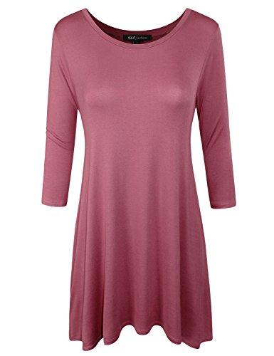 ELF FASHION Womens 3/4 Sleeve Loose Fit Swing Tunic Tops Basic T Shirt