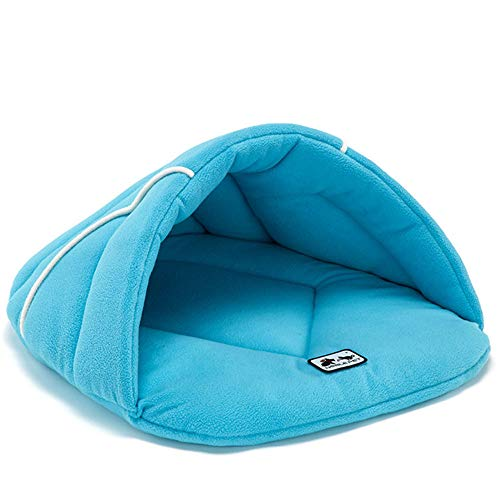 Inkach - Pet Bed Dog Sleeping Bag, for Small Dogs Cats Comfy Cave House Soft Fleece Warm Nest (XS, Sky Blue)