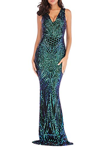Mid Calf Gown - Yamycka Summer Sleeveless Sequins Dress for Women Mid-Calf (Green, M)