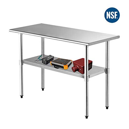 "SUNCOO NSF Stainless Steel Table 48""x24""Commercial Prep Table Heavy Duty Garage Worktable Workbench Industrial Restaurant Food Preparation Work Table for Shop from SUNCOO"