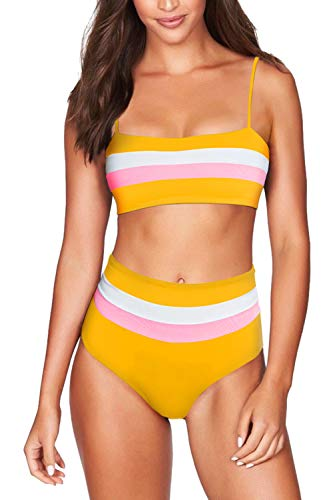 COCOLEGGINGS Women's Striped Bandeau High Waist Bikini Set Bathing Suit Yellow ()