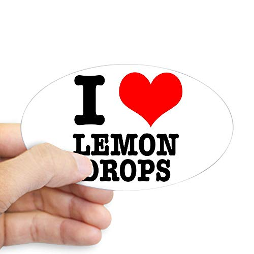 CafePress I Heart (Love) Lemon Drops Oval Sticker Oval Bumper Sticker, Euro Oval Car - Drops Heart Lemon