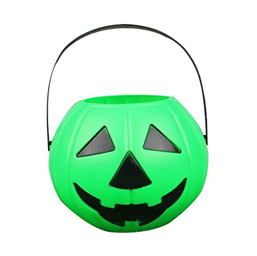 EBTOYS Pumpkin Candy Holder Mini Trick-or-Treat Halloween Candy Bucket Halloween Candy Good Pumpkin Bucket - Green