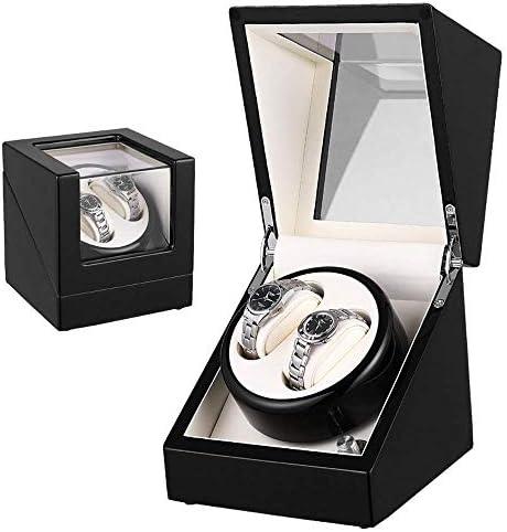 HRSS Doppel Uhrenbeweger Box Uhrenbeweger Automatik Holz Shell Klavierlack Außen Uhr Schmuck Kollektion Fall (Farbe: Schwarz, Größe: 21X18X18CM) (Color : Black, Size : 21X18X18CM)
