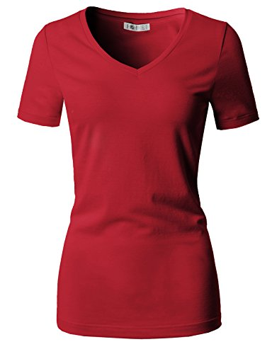 (H2H Womens Casual Solid Comfy Soft Basic Fit Short Sleeve V Neck T Shirt Tee RED US 2XL/Asia 2XL (CWTTS0151))