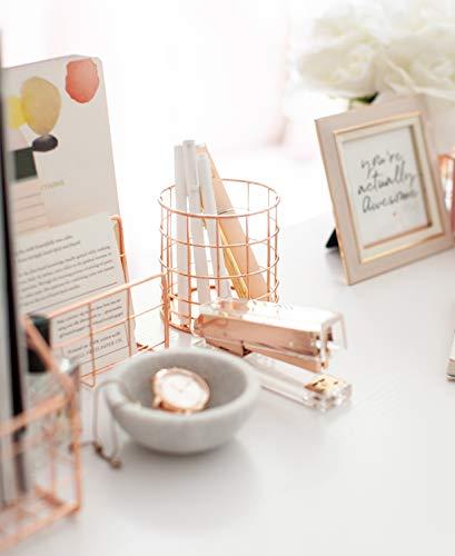 Blu Monaco Office Supplies Rose Gold Desk Accessories for Women - 4 Piece Wire Rose Gold Desk Organizer Set – Letter Sorter, Paper Tray, Pen Cup, Magazine File - Stationery Décor by Blu Monaco (Image #2)