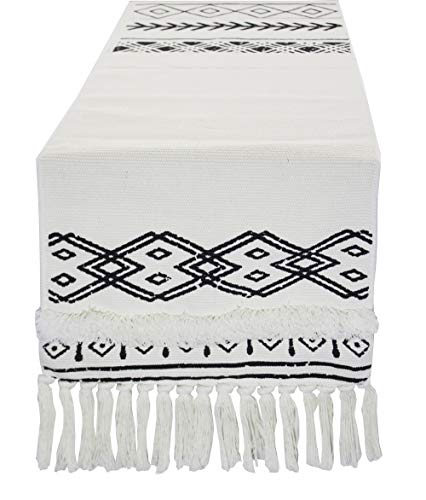 Fennco Styles Boho Farmhouse Woven Fringe Tasseled 14 x 71 Inch Tribal Table Runner - White and Black Table Runner for Everyday Use, Dinner Parties, Special Events and Home Décor ()